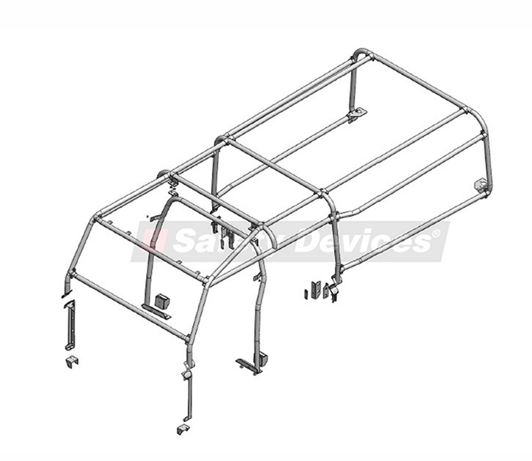 8-Point Bolt-In Internal/External Roll Cage with Internal B Hoop