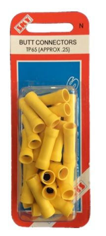 Large Butt Connectors - Yellow (Pack of 25)