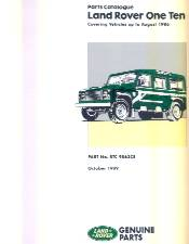 Parts Catalogue Land Rover 110 up to August 1986